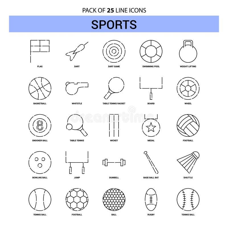 Sportar fodrar symbolsuppsättningen - streckad stil för översikt 25 vektor illustrationer