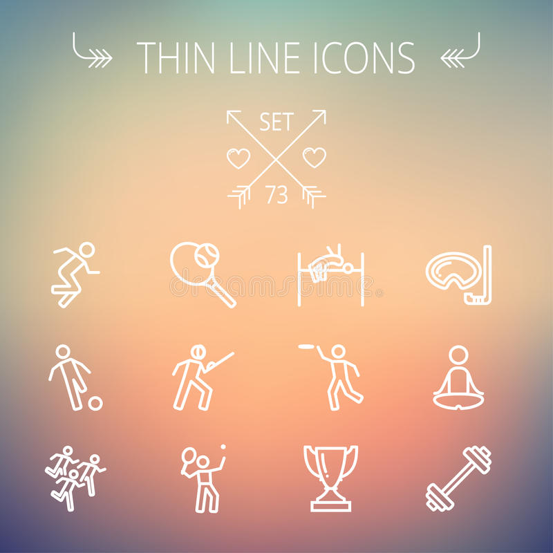 Sportar gör linjen symbolsuppsättning tunnare royaltyfri illustrationer