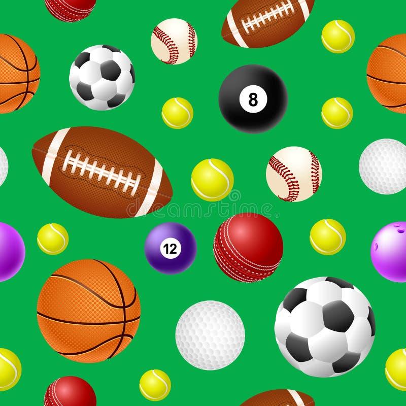 Sportar klumpa ihop sig den sömlösa modellen på grön bakgrund stock illustrationer