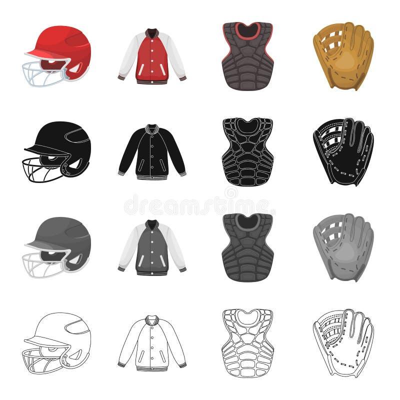 Sportar, lek, konkurrens och annan rengöringsduksymbol i tecknad filmstil Basket hjälm, skydd, symboler i uppsättningsamling vektor illustrationer