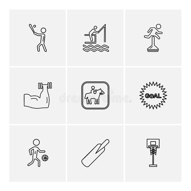 sportar lekar, sommar, stranden, eps-symboler ställde in vektorn stock illustrationer