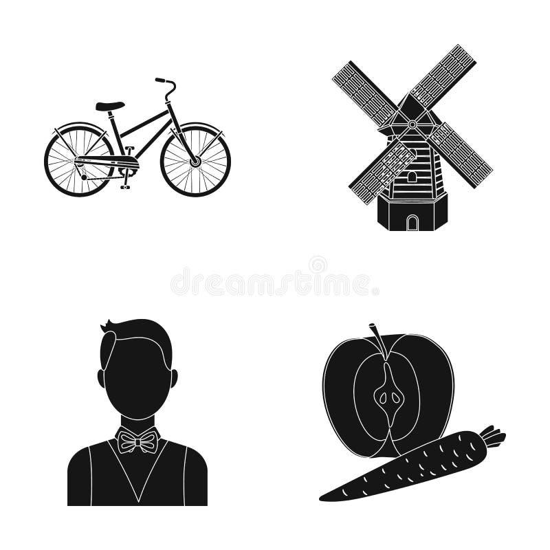 Sportar, lopp och annan rengöringsduksymbol i svart stil yrke matsymboler i uppsättningsamling stock illustrationer