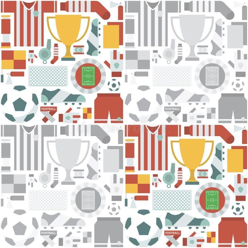 Sportar mönstrar med fotboll-/fotbollsymboler också vektor för coreldrawillustration royaltyfri illustrationer