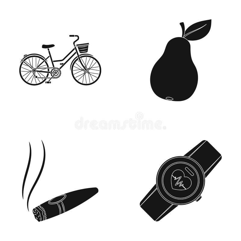 Sportar, nikotin och annan rengöringsduksymbol i svart stil trädgård konditionsymboler i uppsättningsamling vektor illustrationer