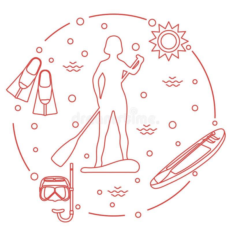Sportar och fritid på vattnet Plattfor paddla upp royaltyfri illustrationer