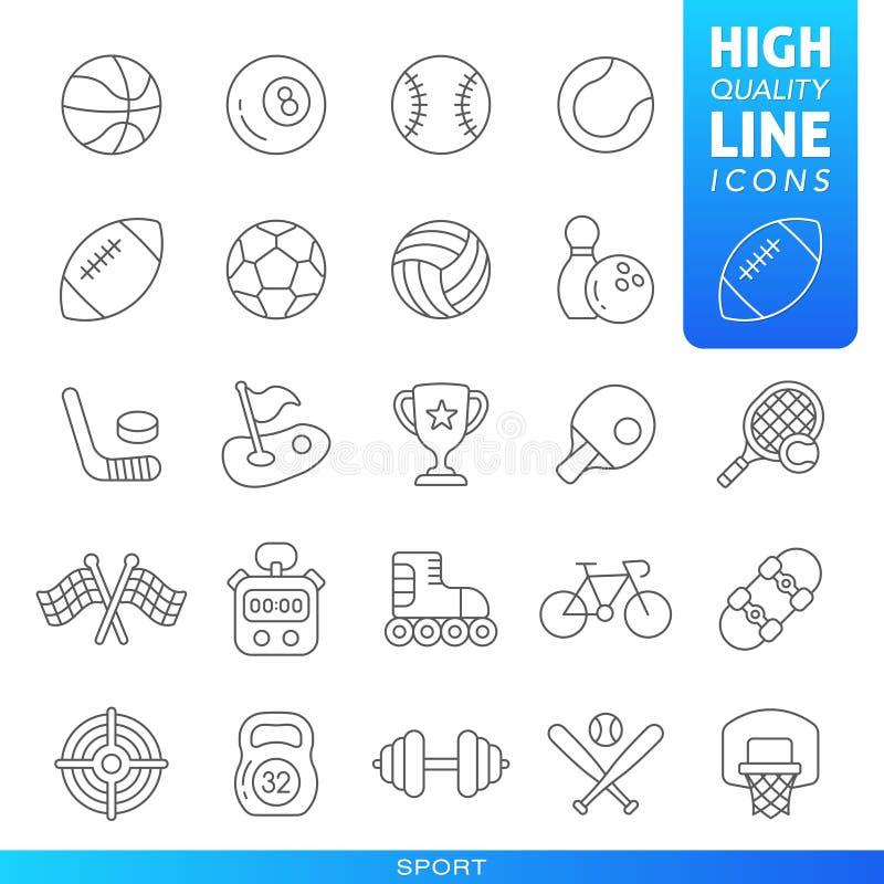 Sportar och h?gkvalitativ moderiktig linje symboler f?r lekar vektor stock illustrationer