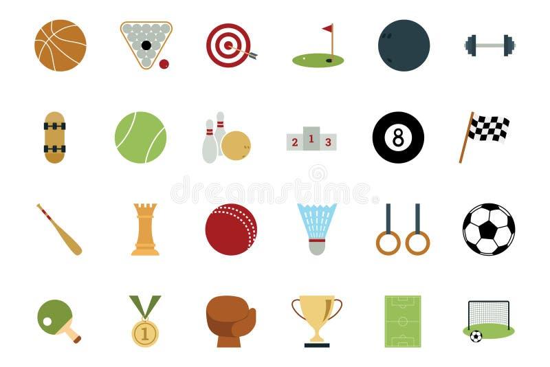 Sportar och kulöra symboler 1 för lekar stock illustrationer