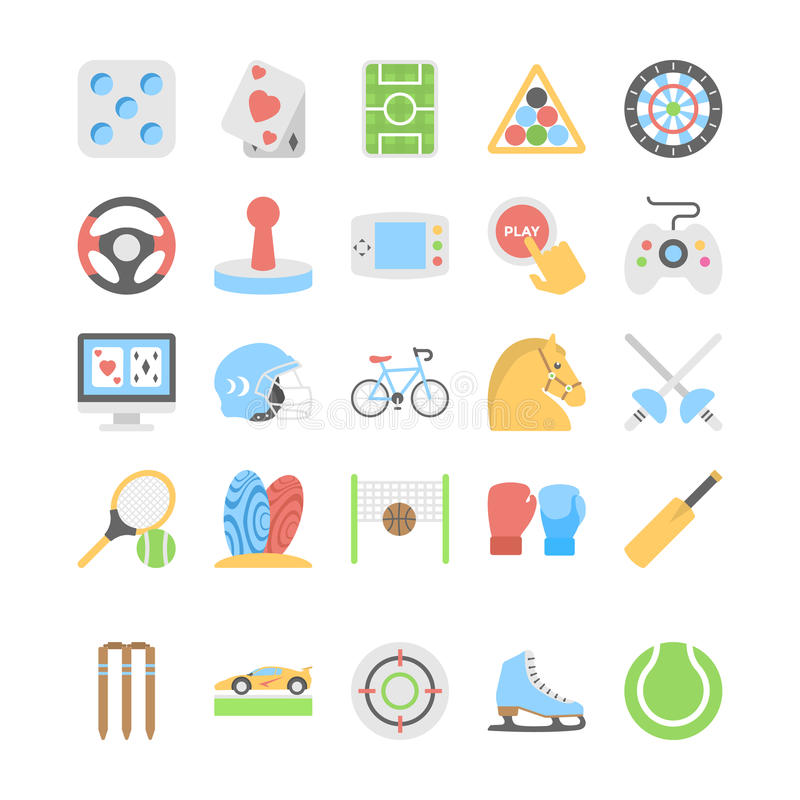 Sportar och lekar sänker kulöra symboler 2 stock illustrationer