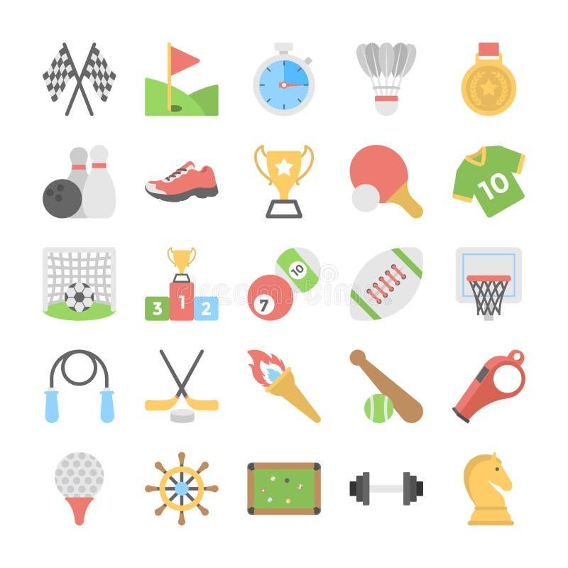Sportar och lekar sänker kulöra symboler stock illustrationer