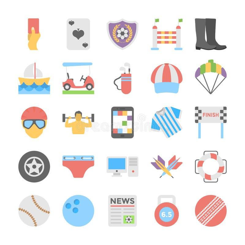 Sportar och lekar sänker kulöra symboler 5 vektor illustrationer
