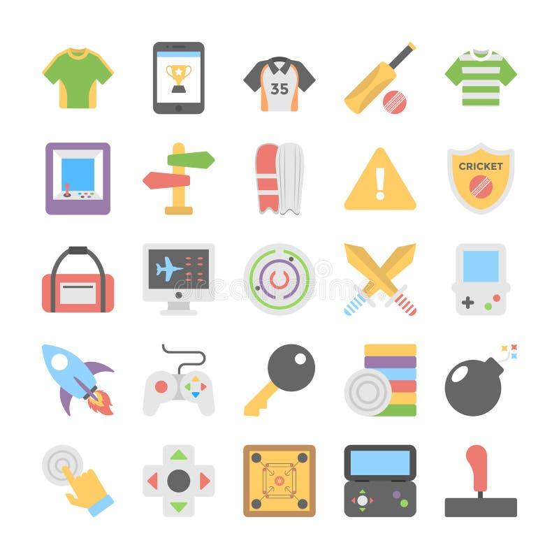 Sportar och lekar sänker kulöra symboler 7 stock illustrationer