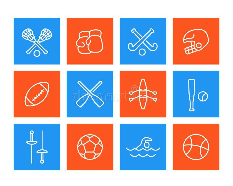Sportar och leksymboler, linjär stil stock illustrationer