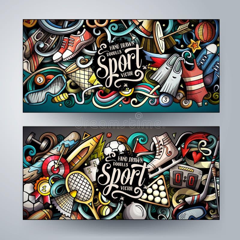 Sportar räcker den utdragna klotterbaneruppsättningen Tecknade filmen specificerade reklamblad stock illustrationer
