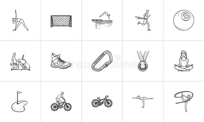 Sportar räcker den utdragna uppsättningen för översiktsklottersymbolen vektor illustrationer
