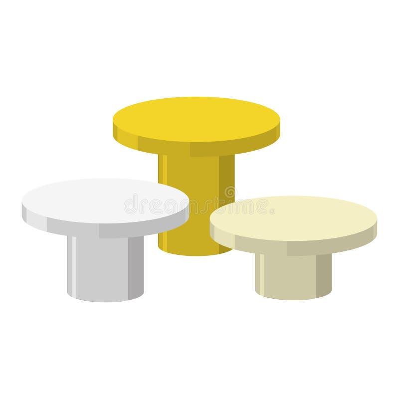 Sportar rundar podiet på en vit bakgrund Tre priser: guld s stock illustrationer