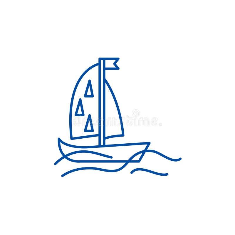 Sportar seglar linjen symbolsbegrepp Sportar seglar det plana vektorsymbolet, tecknet, översiktsillustration vektor illustrationer