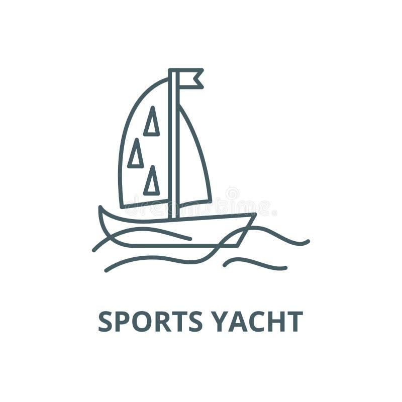 Sportar seglar vektorlinjen symbolen, det linjära begreppet, översiktstecknet, symbol vektor illustrationer