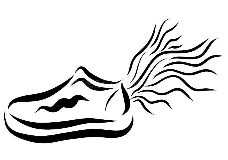 Sportar skor med vingen, spring och hastighet vektor illustrationer