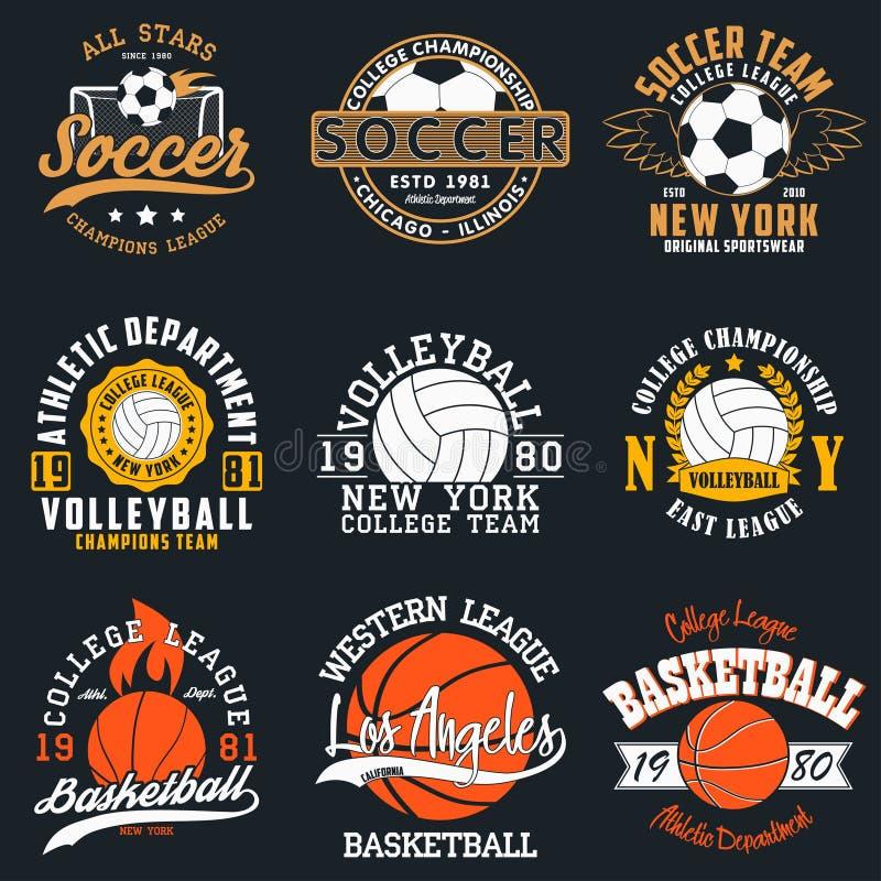 Sportar spelar typografi - fotboll, volleyboll och basket Uppsättning av det idrotts- trycket för t-skjorta design Diagram för sp stock illustrationer