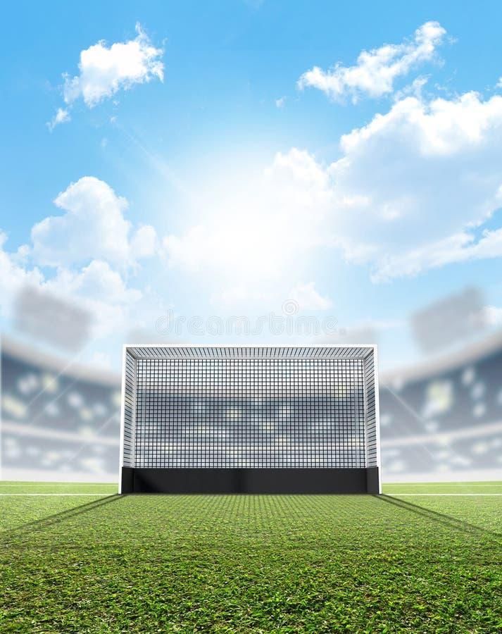 Sportar stadion och hockeymål vektor illustrationer