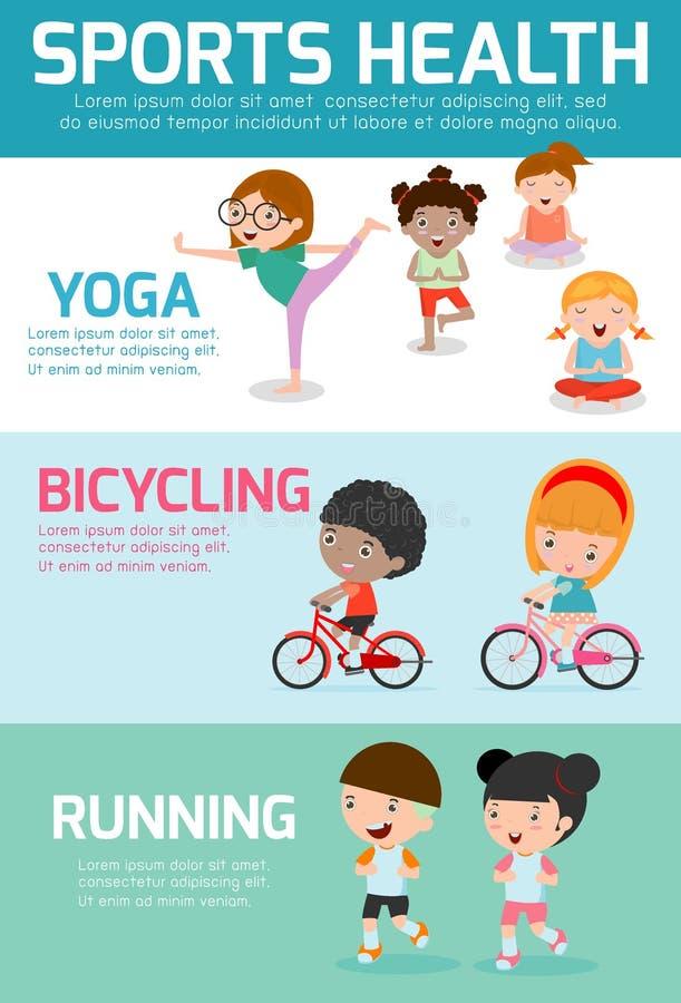 Sportar vård- Infographics, sporthälsa, lurar sporthälsa, barnsporthälsa, vektorillustration vektor illustrationer