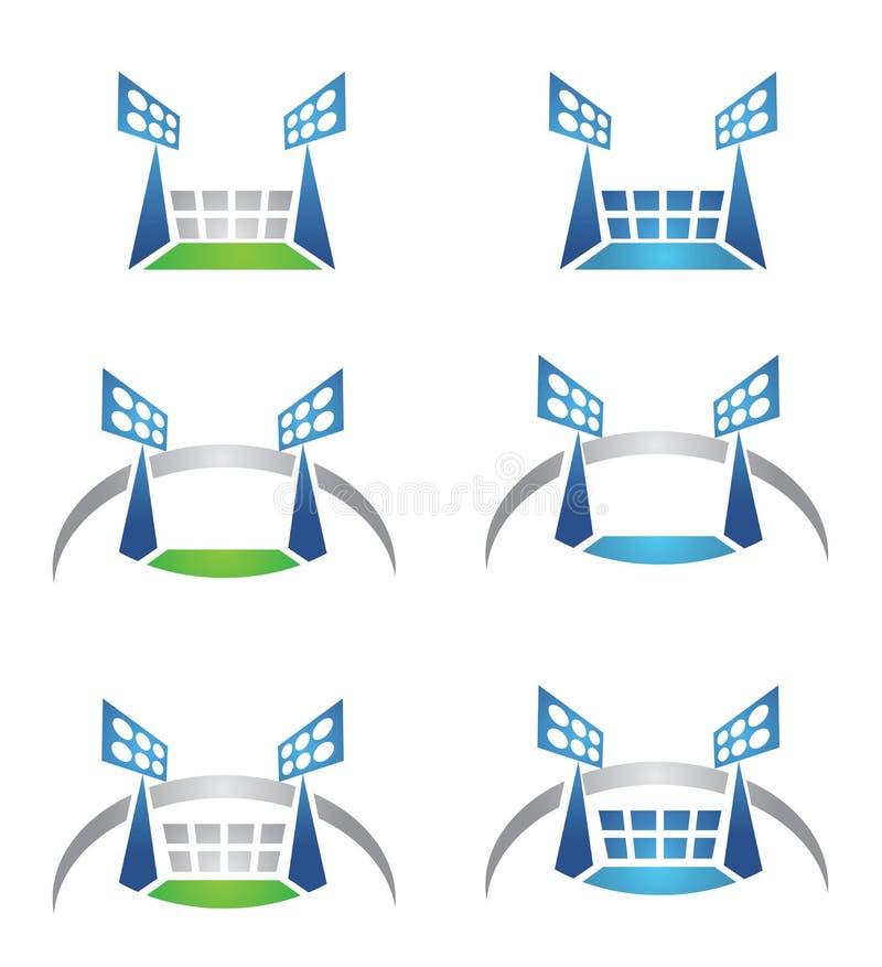 Sportarena- eller stadionlogo stock illustrationer