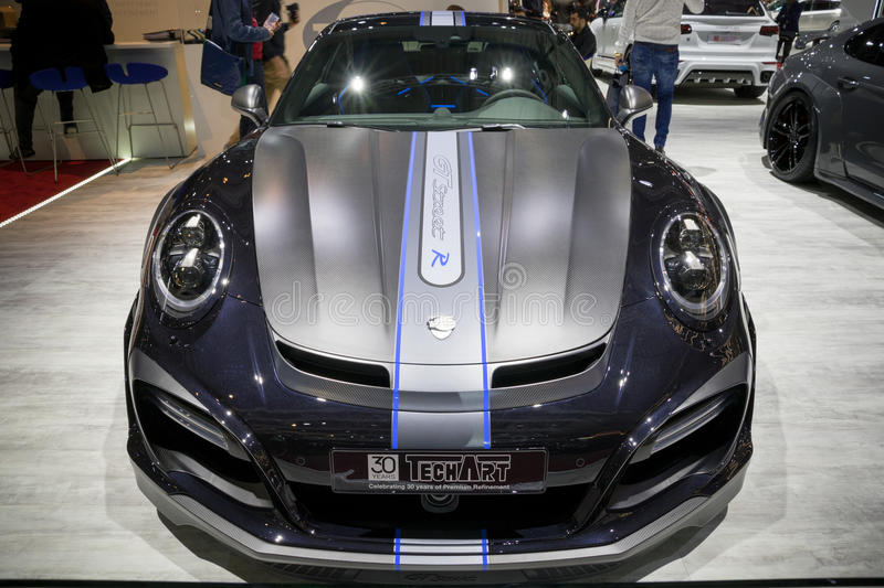 Sportauto Straße R Porsches 911 TechArt GT stockfoto