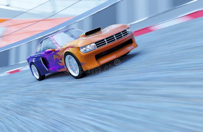 Sportautofahrten auf die Ringbahn stockfotografie