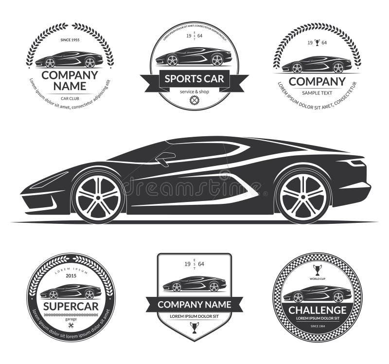 Sportautoschattenbild mit dem Satz von Aufklebern, Embleme, Firmenzeichen vektor abbildung