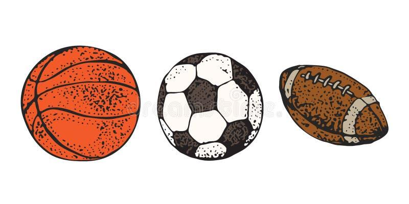 Sportbälle stellten Vektorillustration lokalisiert auf weißem Hintergrund ein Amerikanischer Fußball der Karikaturikone, Rugby, B vektor abbildung