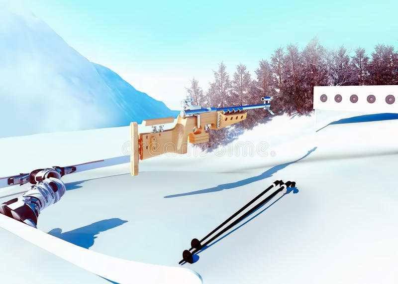 Sportbakgrund med biathlon arkivbilder