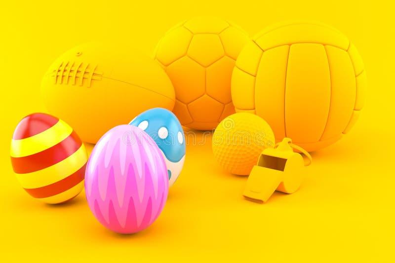 Sportbakgrund med easter ägg royaltyfri illustrationer