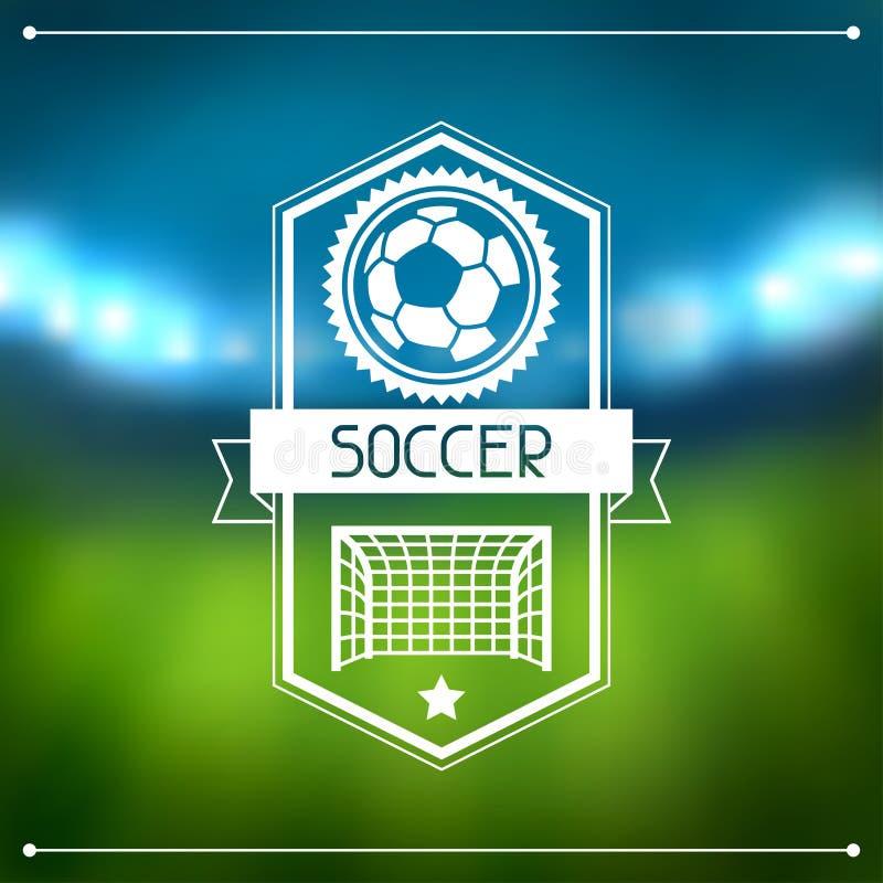 Sportbakgrund med fotbollstadion och etiketter stock illustrationer