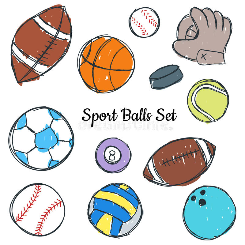 Sportball-Gekritzelsatz lizenzfreie abbildung