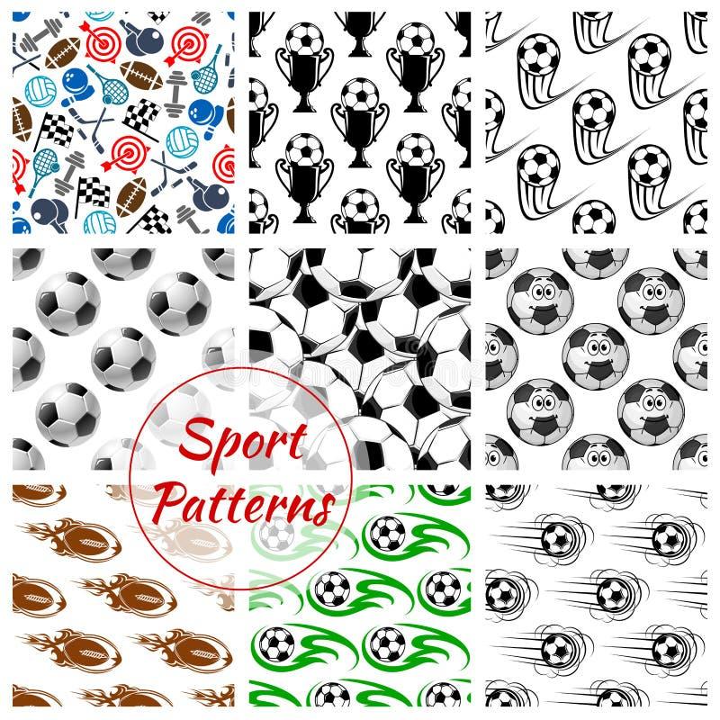 Sportballen en geplaatste punten naadloze patronen stock illustratie