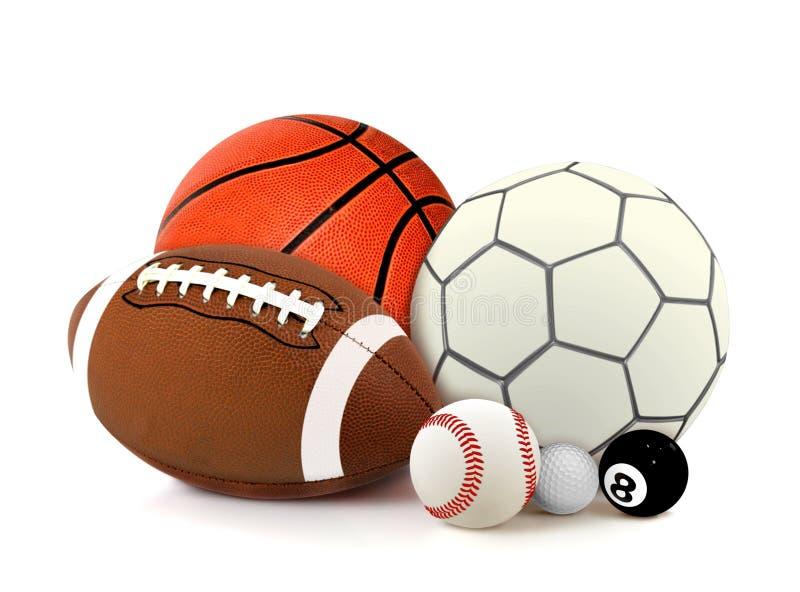 Sportballen over Wit royalty-vrije stock fotografie