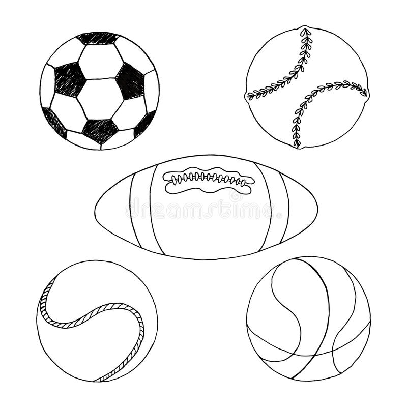 Sportballen voor teamspel stock afbeeldingen