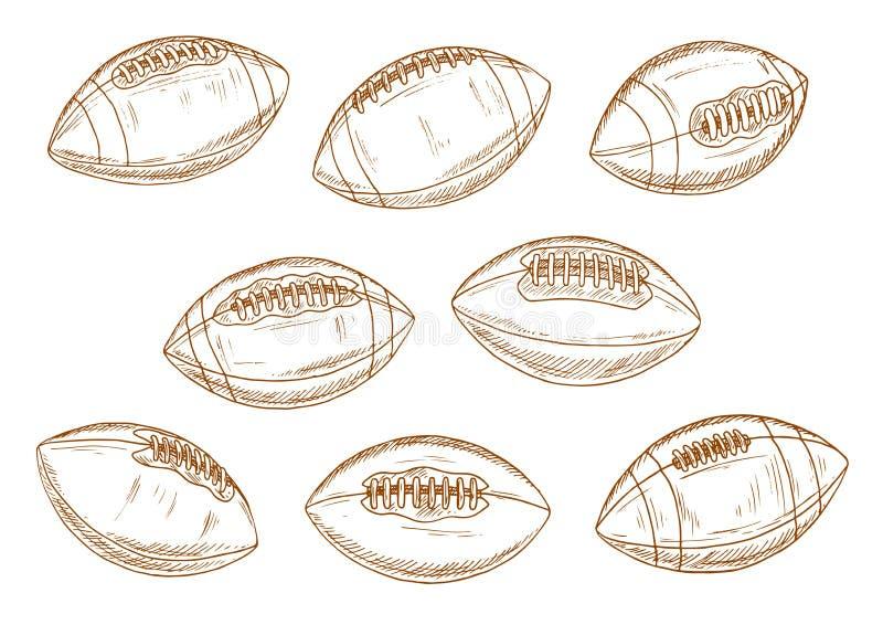 Sportballskizzen des amerikanischen Fußballs oder des Rugbys stock abbildung