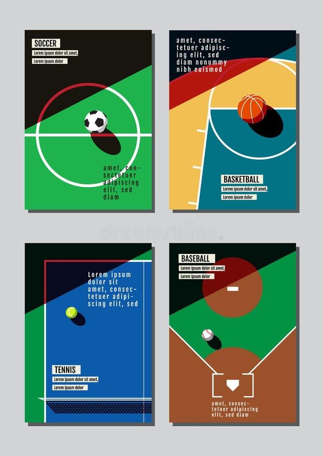 Sportbegrepp för grafisk design Bakgrund för sportutrustning Vecto stock illustrationer
