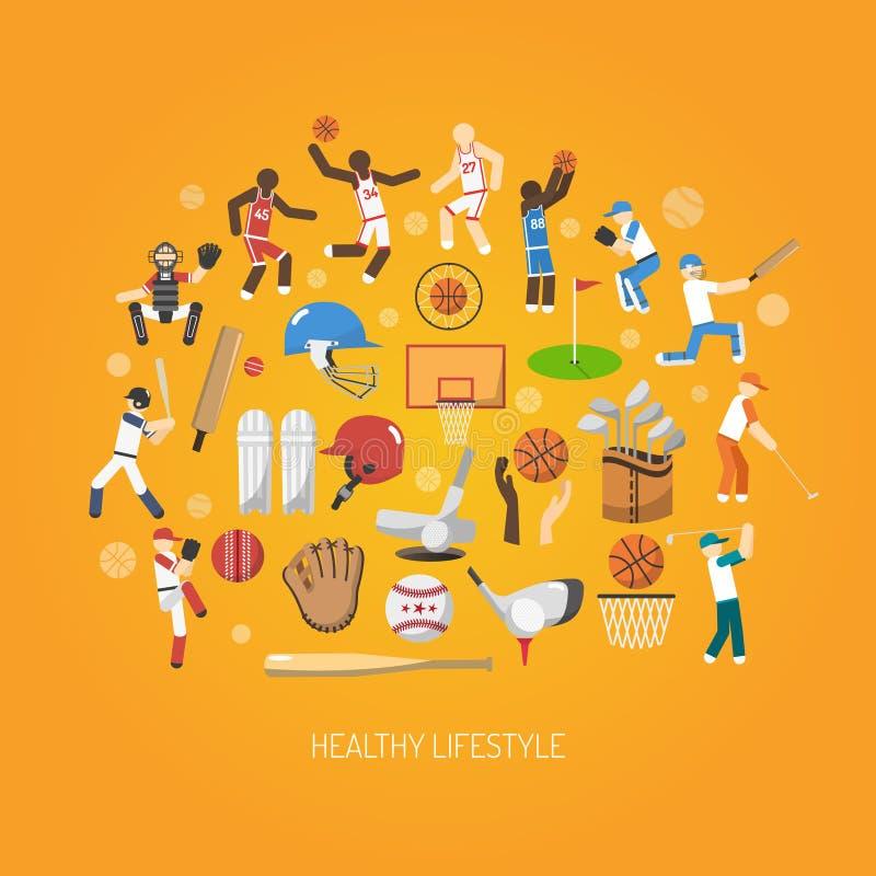 Sportbegreppslägenhet royaltyfri illustrationer