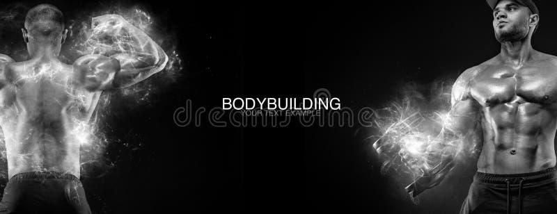 Sportbehang en motivatieconcept Sterke atletische bodybuilder bij gymnastiek op zwarte achtergrond Geschiktheid en het bodybuildi royalty-vrije stock afbeelding