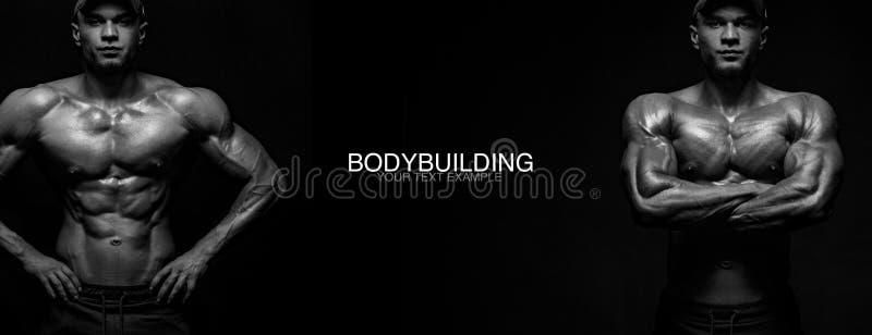 Sportbehang en motivatieconcept Sterke atletische bodybuilder bij gymnastiek op zwarte achtergrond Geschiktheid en het bodybuildi royalty-vrije stock foto's