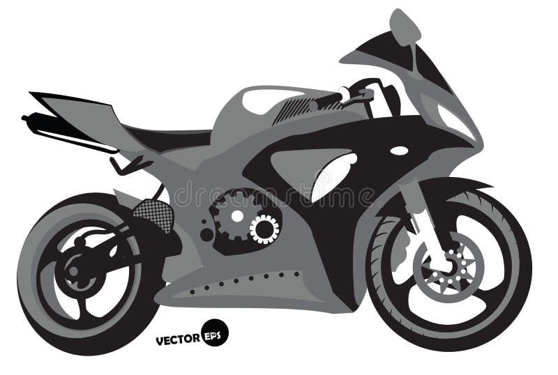 Sportbike剪影、运输速度的和极端体育,摩托车越野赛 摩托车,体育机构成套工具,单色传染媒介 向量例证