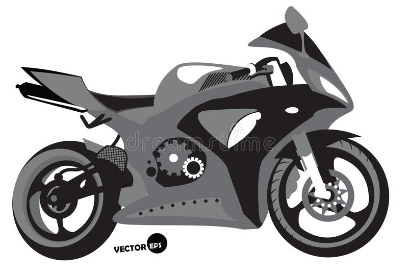 Sportbike silhouette, transport for speed and extreme sports, motocross. Motorcycle, sports body kit, monochrome vector vector illustration