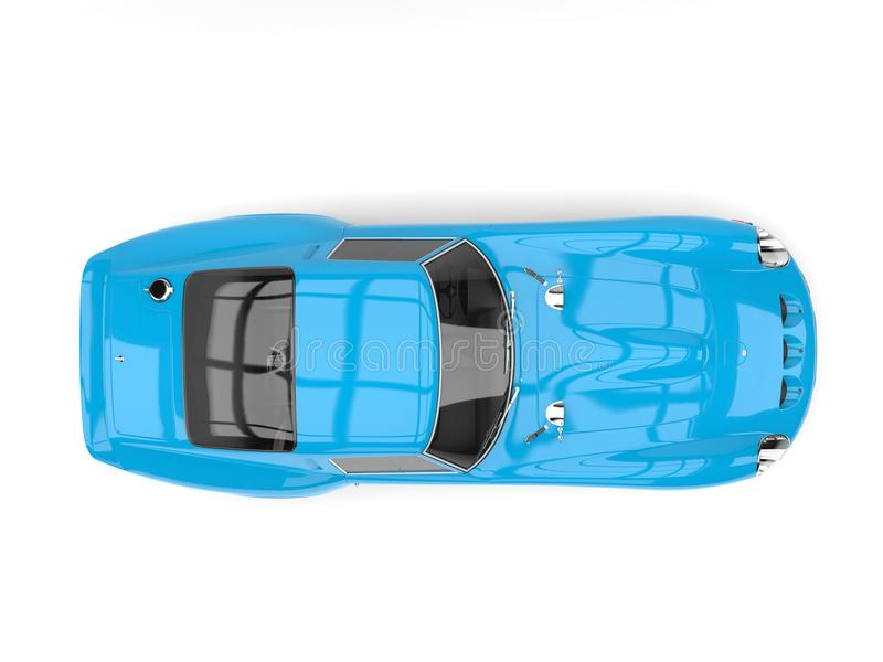 Sportbil för lopp för tappning för himmelblått - bästa sikt stock illustrationer