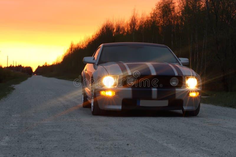 Sportbil på nattvägen royaltyfri bild