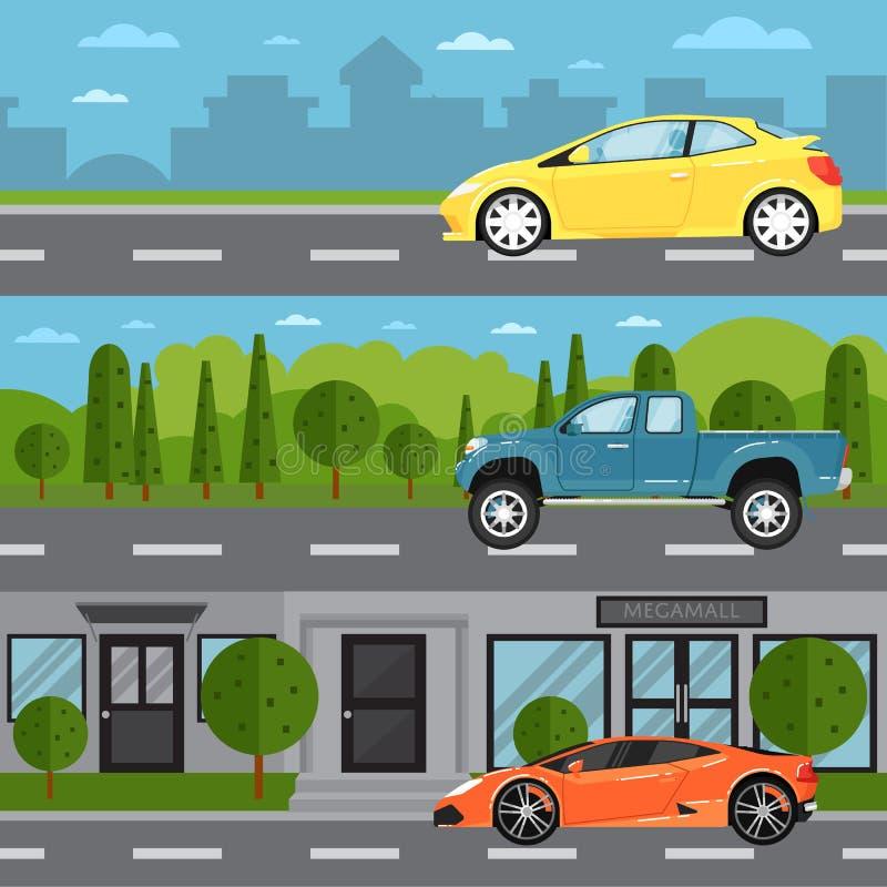 Sportbil, universal och uppsamling på huvudvägen stock illustrationer