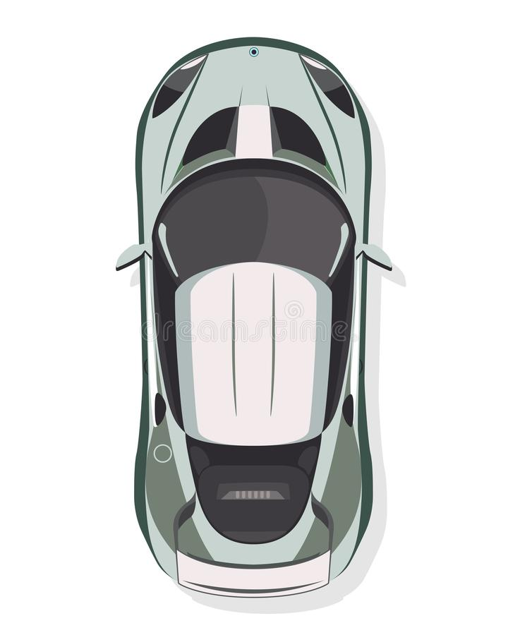 Sportbilen, bästa sikt i plan stil på en vit bakgrund royaltyfri illustrationer