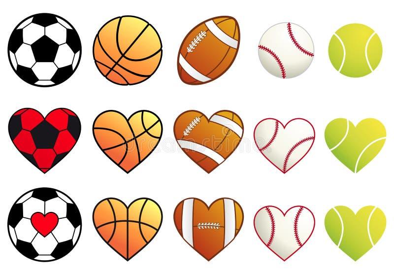 Sportbollar och hjärtor, vektoruppsättning vektor illustrationer
