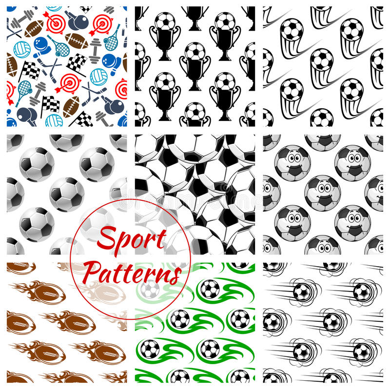 Sportbollar och sömlös modelluppsättning för objekt stock illustrationer